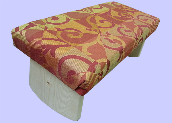 meditation bench in fall colors, orange vine pattern