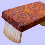 meditation bench with orange purple gold paisley fabric