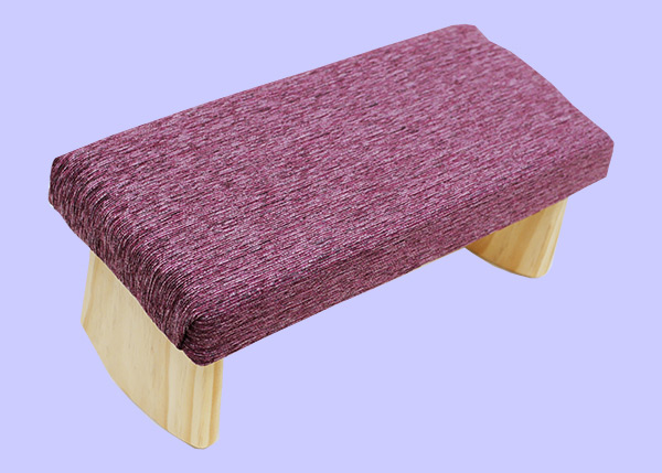 meditation bench with amethyst fabric