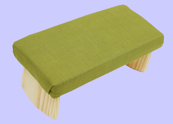meditation bench with lime green fabric
